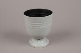 A044Q4 Grey zinc pot D10cm H12cm