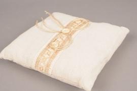 Coussin porte alliances en lin naturel 19cm x 19cm