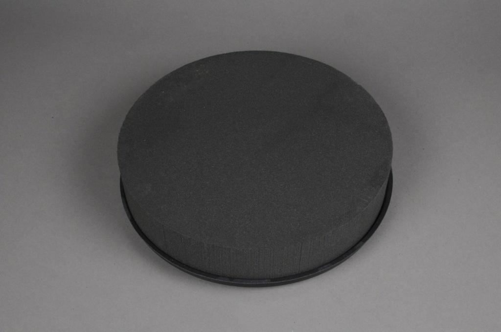 A066QV Coussin rond mousse florale noire D28cm