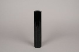 A101PS Cylindric glass vase black D5cm H25cm