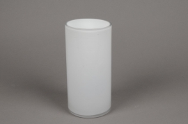 A095PS Cylindric glass vase white diameter 10cm height 20cm