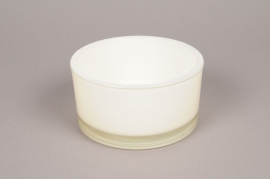 A904IH Cylindrical glass bowl white D15cm H8cm
