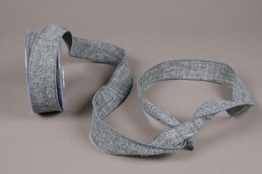 A635UN Dark grey cotton ribbon 38mm x 10m