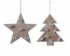 X424KI Décoration de Noël en bois assortie H11cm