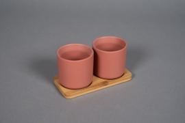 Duo de cache-pot en céramique terre de sienne