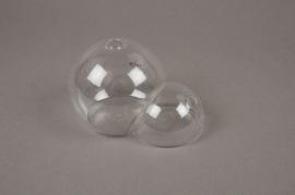 A028OR Duo de vases boule en verre 10X7cm H7cm