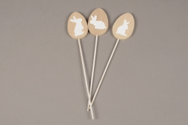 E004U7 Pack of 3 wooden egg picks H22cm