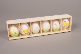 E017KI Box of 6 decorated eggs H6cm