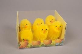 E020KI Box of 6 yellow chicks H6cm