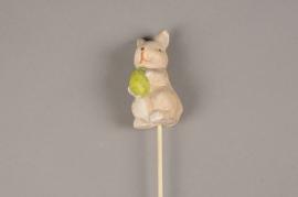 E025LE Paquet de 12 pics lapins céramique H27cm