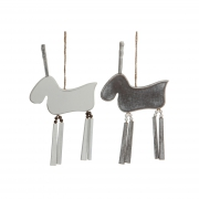 X034DQ White or grey wooden moose H15cm