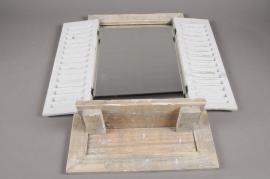 A002AO Etagère miroir et volet en bois H67.5cm