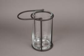 A020ZV Glass and black metal lantern D13cm H28cm