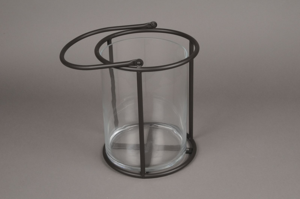 A019ZV Glass and black metal lantern D21cm H28cm