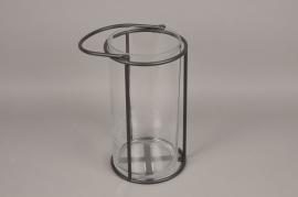 A021ZV Glass and black metal lantern D23cm H41cm