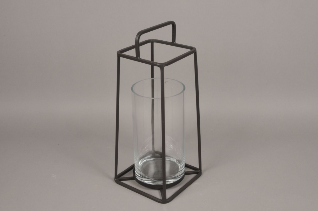 A009ZV Glass and black metal lantern H57cm