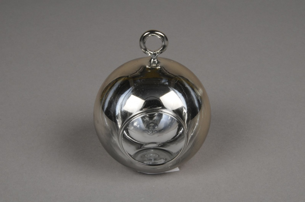 A010K9 Glass ball hanging gold with an opening D10cm H9cm
