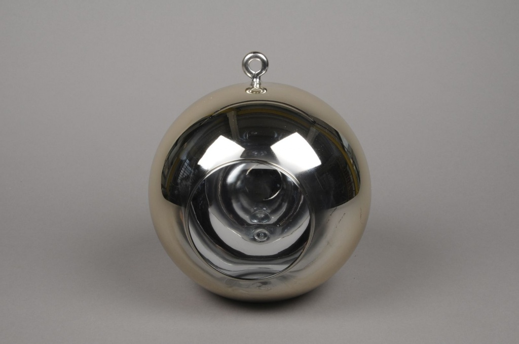 A008K9 Glass ball hanging gold with an opening D20cm H22cm