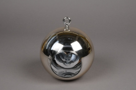 A011K9 Glass ball hanging gold with an opening D8cm H9cm