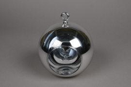 A006K9 Glass ball hanging silver with an opening D10cm H9cm