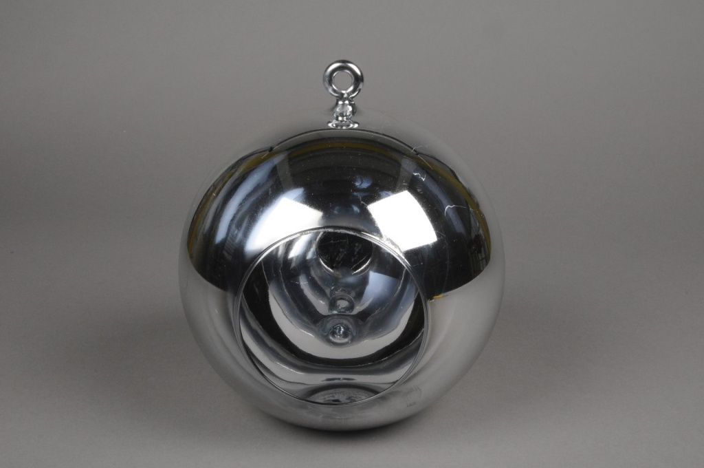 A004K9 Glass ball hanging silver with an opening D20cm H22cm