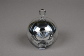 A007K9 Glass ball hanging silver with an opening D8cm H9cm