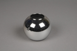 A045K9 Glass ball vase silver D6cm H5.5cm