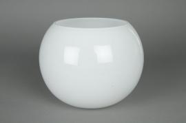 Glass ball vase white D20 H15,5cm