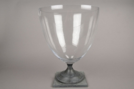 A566UO Glass bowl with grey metal base D34cm H46.5cm