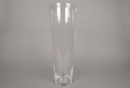 A093I0 Glass conical vase D16.5cm H50cm