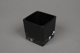 A031I0 Glass cube vase black 6x6cm H6cm