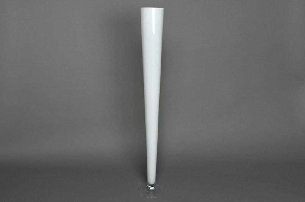 Glass flute vase white D12 H100cm
