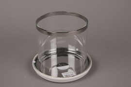 C038DQ Glass light holder with white base D15cm H17.5cm