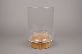 B396W3 Glass light holder with wooden base D21cm H33cm