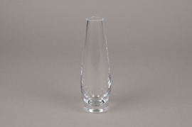 B492W3 Glass shell vase D5.5cm H17.5cm