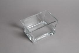 A019M1 Glass square bowl 19x13cm H10cm