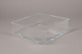 B454W3 Glass square bowl 25x25cm H8cm
