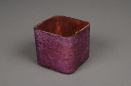 A027K0 Glass square jar aged purple 8x8cm H8cm