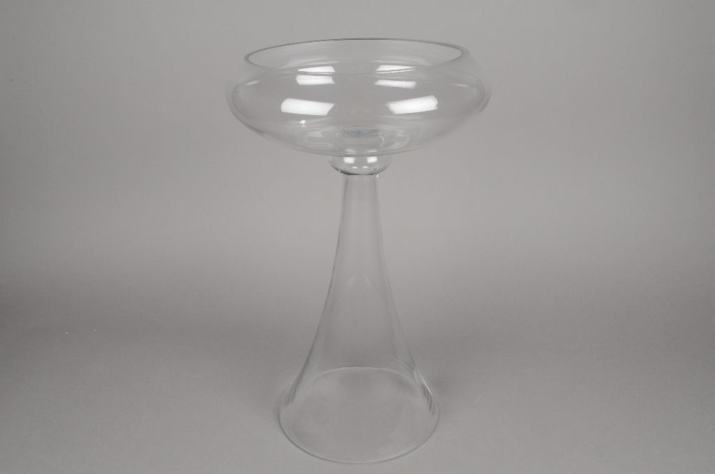 A081K9 Glass stemmed bowl D25cm H43cm