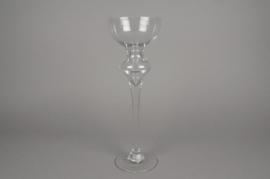 A079K9 Vase en verre sur pied D13.5cm H40cm
