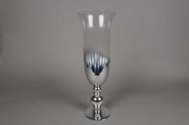A018B0 Glass stemmed vase silver D21cm H65cm