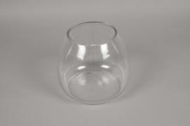 A072K9 Glass vase bombshell D21cm H18cm
