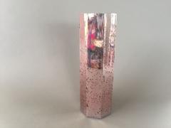A056K9 Vase en verre or rose D13cm H39cm