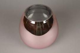 A084K9 Glass vase pink D24cm H20cm