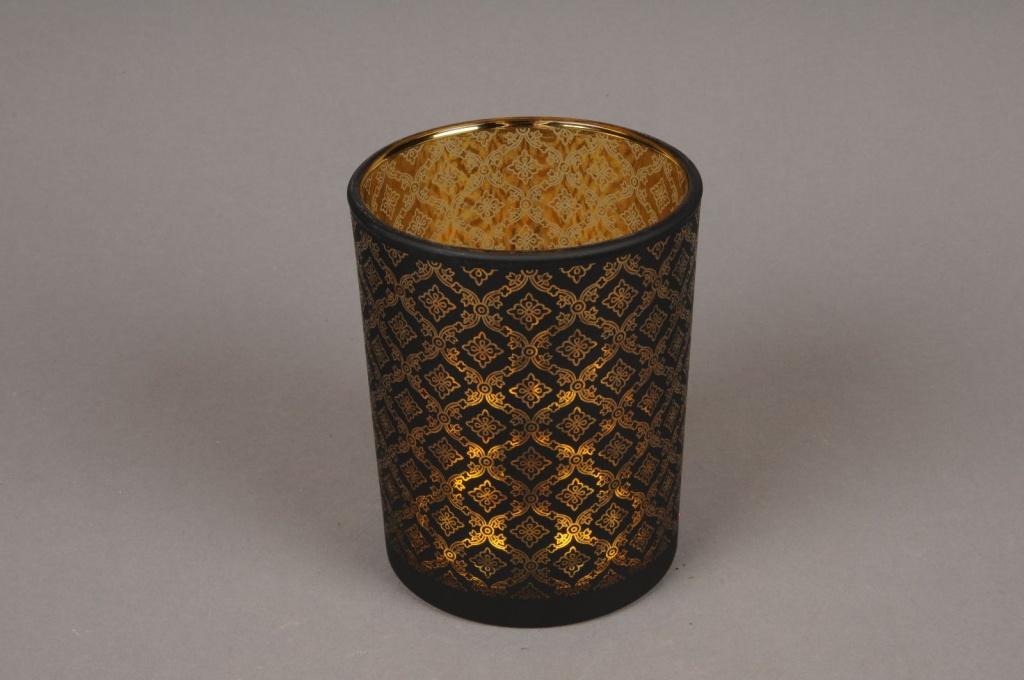 A014P5 Gold and black glass light holder D10cm H12.5cm