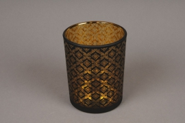 A014P5 Gold and black glass light holder D10cm H12.5cm