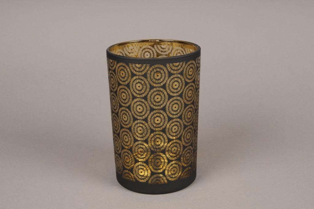 Gold and black glass light holder D12cm H18cm