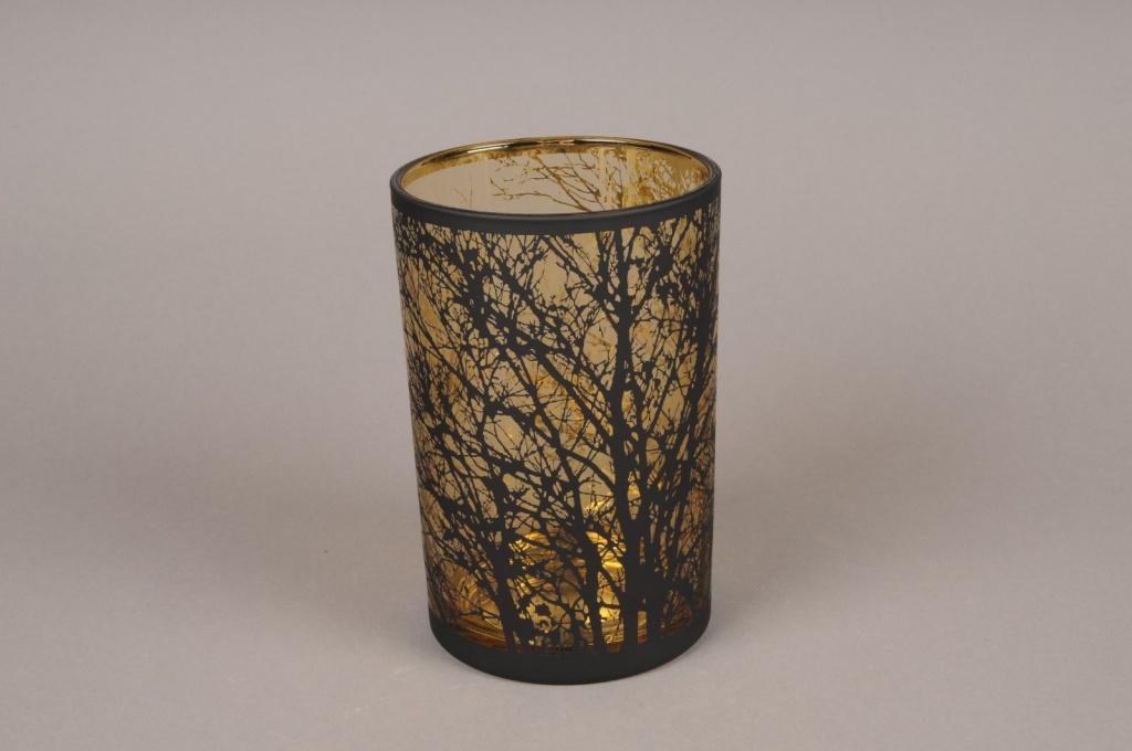 A027P5 Gold and black glass light holder D12cm H18cm