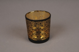 A000P5 Gold and black glass light holder D7.5cm H8cm