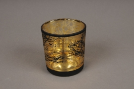 A024P5 Gold and black glass light holder D7.5cm H8cm